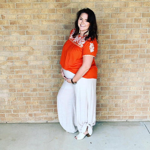Orange Short Sleeve Embroidered Top