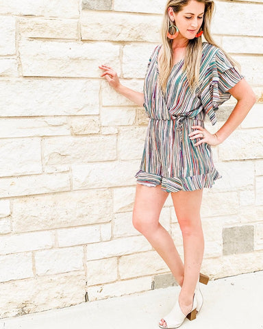 Multi-color Striped Romper