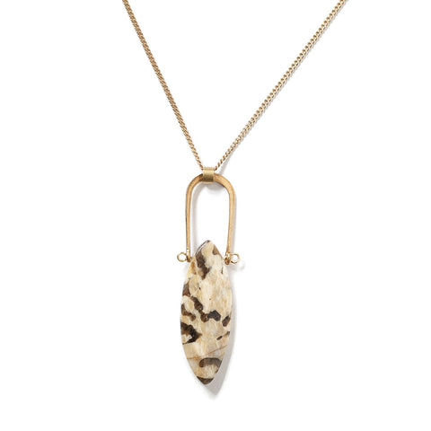 Graphic Feldspar Amulet Necklace