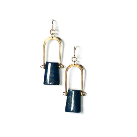 Lapis Monolith Earrings (14kt GF Earhooks)