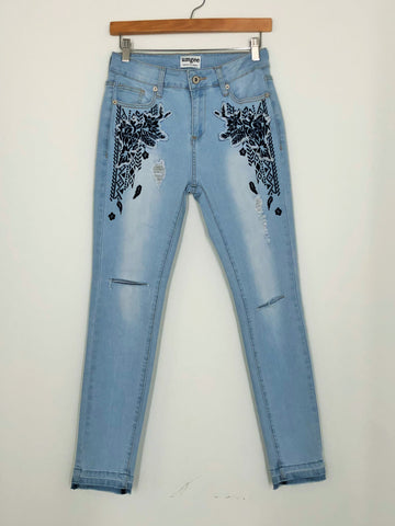 Embroidered Distressed Skinny Jean