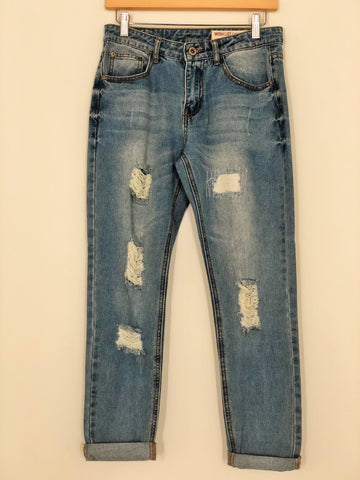 Distressed Bamboo Denim Boyfriend Jean