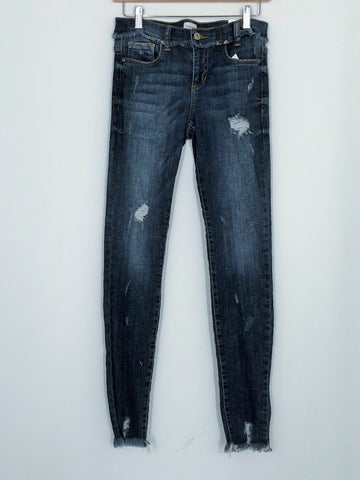 Frayed Hem Medium Wash Jeans