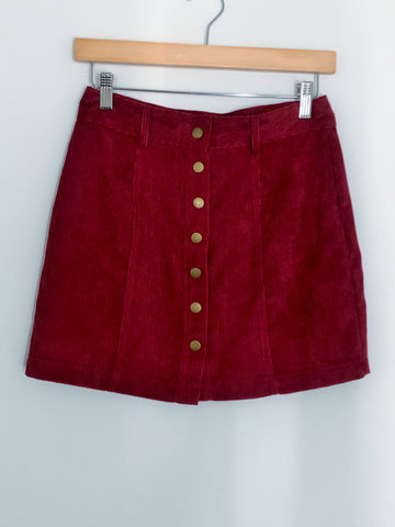 Button Through Corduroy Mini Skirt