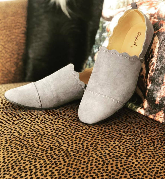 Grey Scalloped Loafers