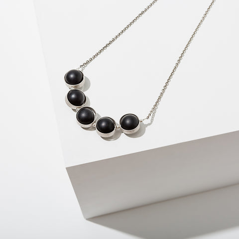 Alignment Necklace in Silver - Onyx