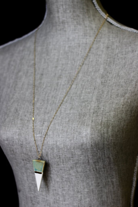 Leslie Ponder Studio - Turquoise & White Triangle Necklace + Gold Stripe