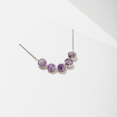 Alignment Necklace in Silver - Amethyst