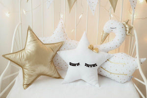 Star pillow with gold bow - Mincia Studio