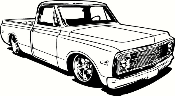 1970 chevrolet c10 pick up truck vinyl cut out decal
