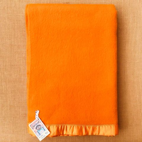 AS NEW Super Bold and Bright Orange SINGLE Satin Edge Wool Blanket