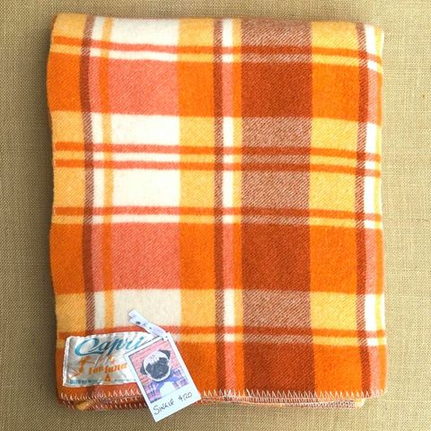 Thick and Bright Retro Orange Capri SINGLE Wool blanket - Fresh Retro Love NZ Wool Blankets