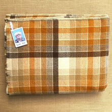 Load image into Gallery viewer, Poppa Styles DOUBLE Wool Blanket in Mid-century Warm Brown Check - Fresh Retro Love NZ Wool Blankets