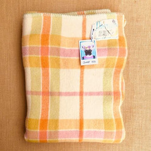 DREAMWARM with this Retro SINGLE/COT Blanket in lovely spring colours. - Fresh Retro Love NZ Wool Blankets