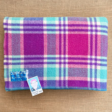 Load image into Gallery viewer, Turquoise & Fuchsia Sensational DOUBLE Pure New Zealand Wool Blanket.