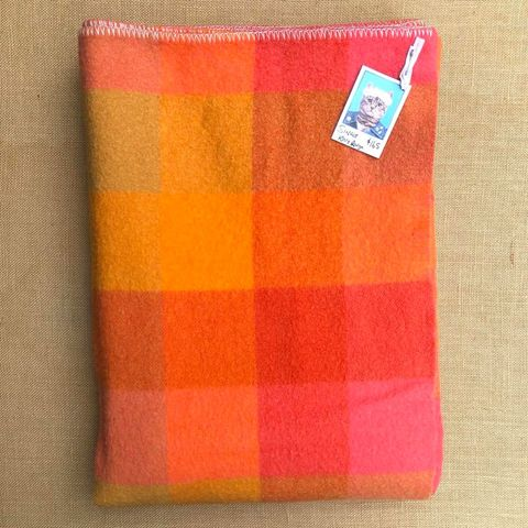 Rare Design Bright 1970's Onehunga Woollen Mills SINGLE Wool Blanket - Fresh Retro Love NZ Wool Blankets
