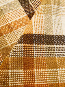 Fab Large QUEEN Wool Blanket in Mid-century Warm Brown Check