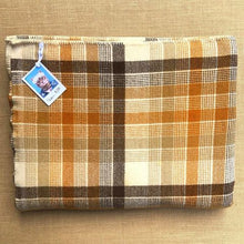 Load image into Gallery viewer, Fab Large QUEEN Wool Blanket in Mid-century Warm Brown Check