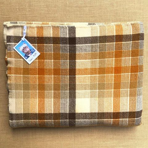 Fab Large QUEEN Wool Blanket in Mid-century Warm Brown Check - Fresh Retro Love NZ Wool Blankets