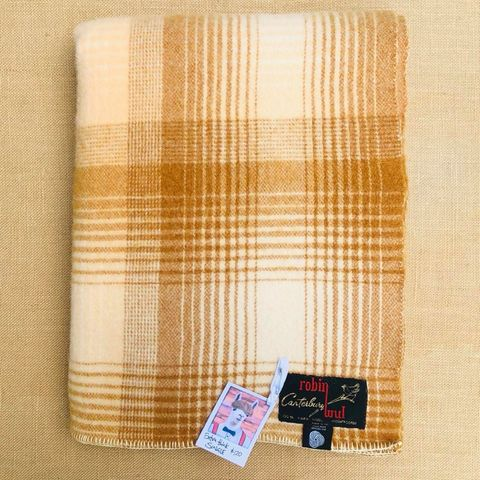 Thick SINGLE Wool Blanket by Robinwul of Canterbury - Fresh Retro Love NZ Wool Blankets