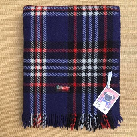 Vibrant Violet Blue TRAVEL RUG with Quirky Patch Repairs - Fresh Retro Love NZ Wool Blankets