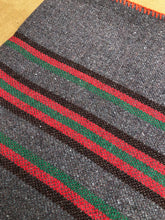 Load image into Gallery viewer, Genuine Vintage Grey Army Blanket SINGLE Wool with RARE Red, Green and Black Stripe - Fresh Retro Love NZ Wool Blankets