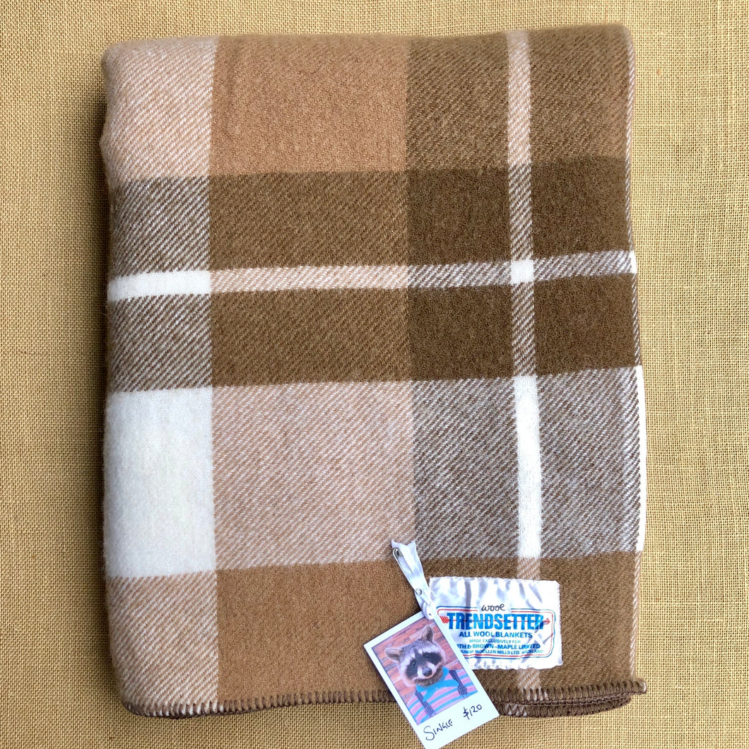 Lovely Thick New Zealand Wool SINGLE Blanket, Smith & Brown Onehunga - Fresh Retro Love NZ Wool Blankets