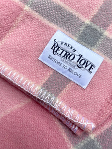 Lipstick Pink and Cool Grey SINGLE New Zealand Wool Blanket