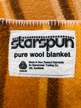 Load image into Gallery viewer, Gold Check SINGLE bright with two patch repair. Disco Fever!! - Fresh Retro Love NZ Wool Blankets