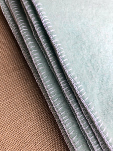 Duck Egg Green SINGLE  Wool Blanket with White Blanket Stitching - Fresh Retro Love NZ Wool Blankets