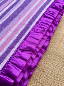 Bright Purple Thick Stripe QUEEN/KING Wool Blanket with beautiful Satin Trim