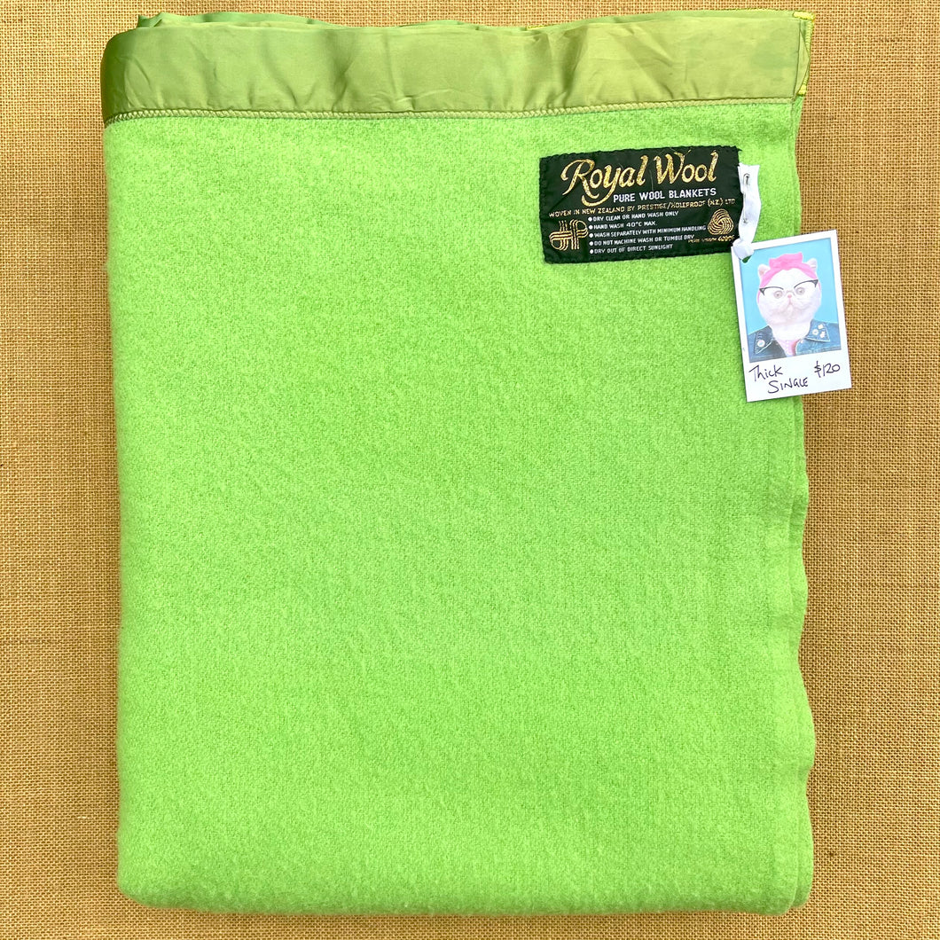 Vibrant Lime, Super Thick SINGLE New Zealand Wool Blanket