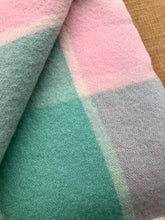 Load image into Gallery viewer, Soft Pastel Mint and Pink SINGLE Pure Wool Blanket. **UPDATED** - Fresh Retro Love NZ Wool Blankets