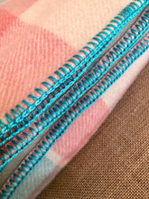 Load image into Gallery viewer, Pretty Turquoise, Pink and Cream DOUBLE Wool Blanket - Marvel! - Fresh Retro Love NZ Wool Blankets