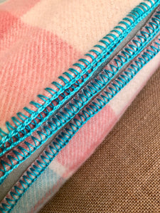 Pretty Turquoise, Pink and Cream DOUBLE Wool Blanket - Marvel! - Fresh Retro Love NZ Wool Blankets