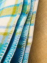 Load image into Gallery viewer, Bright Turquoise and Olive DOUBLE Wool Blanket - Wondawarm! - Fresh Retro Love NZ Wool Blankets