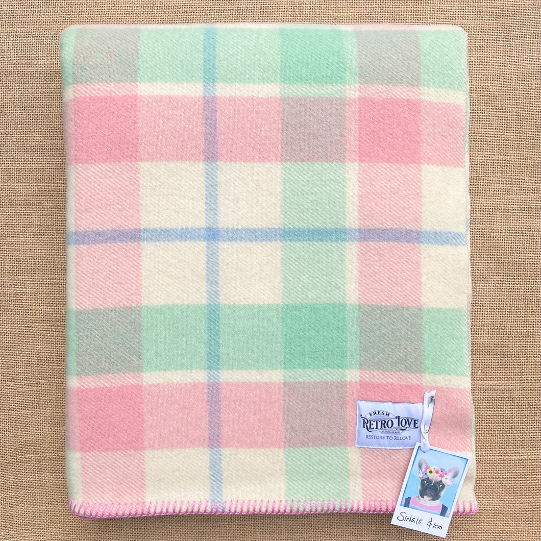 Soft Pink & Mint SINGLE New Zealand Wool Blanket