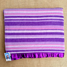 Load image into Gallery viewer, Bright Purple Thick Stripe QUEEN/KING Wool Blanket with beautiful Satin Trim
