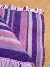 Load image into Gallery viewer, Gorgeous Purple Stripe COT/KNEE Rug Pure NZ Wool Blanket