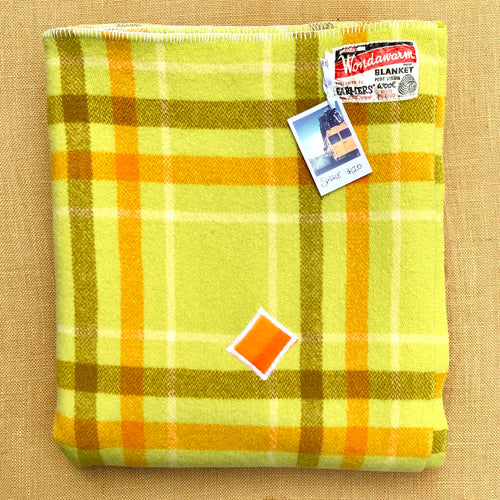 Retro Pistachio Green SINGLE bright with patch repair. Wondawarm! - Fresh Retro Love NZ Wool Blankets
