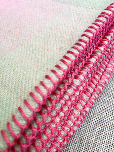 Subtle Coral Pink & Olive SINGLE Pure New Zealand Wool Blanket.