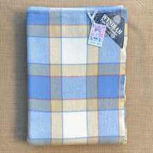 Load image into Gallery viewer, Sailing Boat Blue Checked with Tan SINGLE New Zealand Wool Blanket