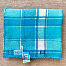 Load image into Gallery viewer, Bright Retro Turquoise & Purple THROW New Zealand Wool Blanket