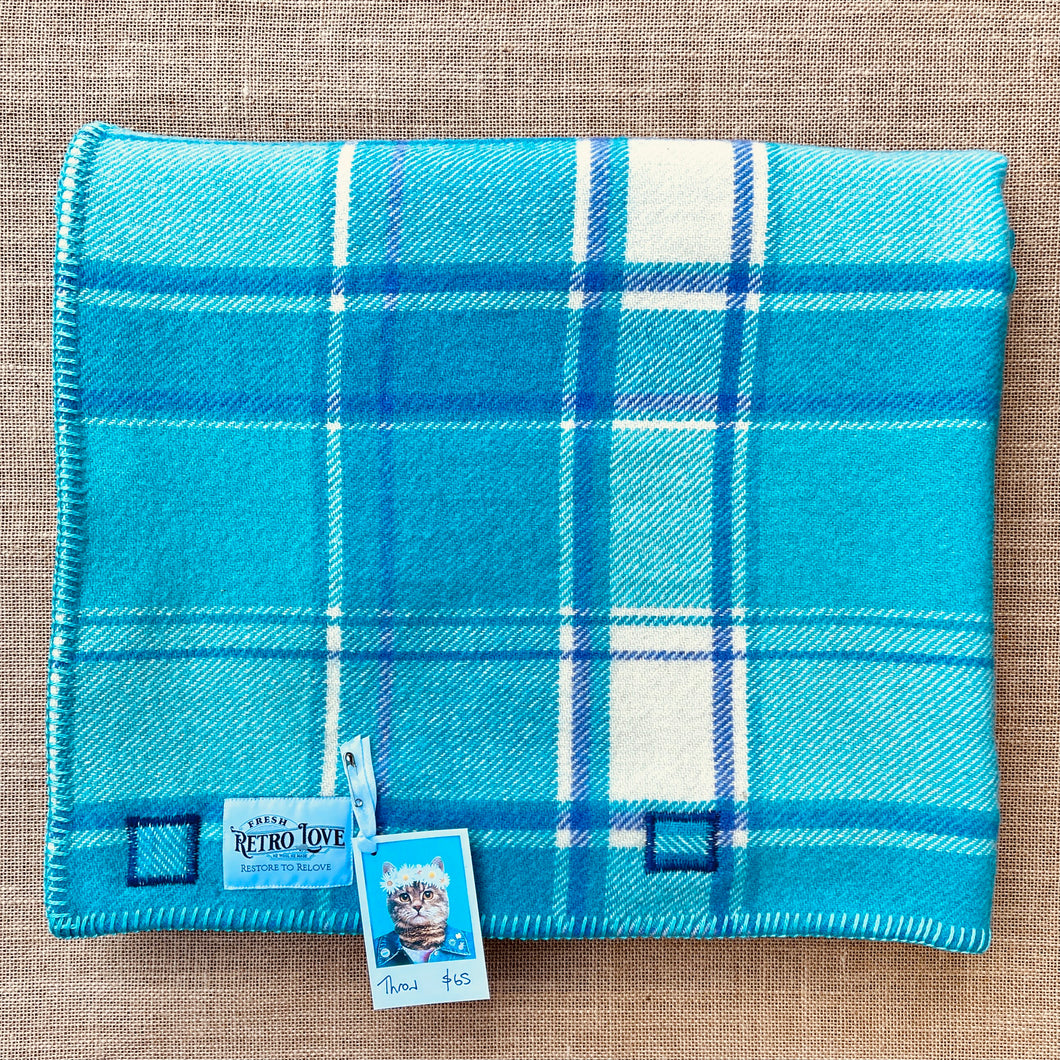 Bright Retro Turquoise & Purple THROW New Zealand Wool Blanket
