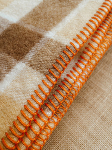 Thick & Super Fluffy SINGLE New Zealand Wool Blanket Creamy Browns
