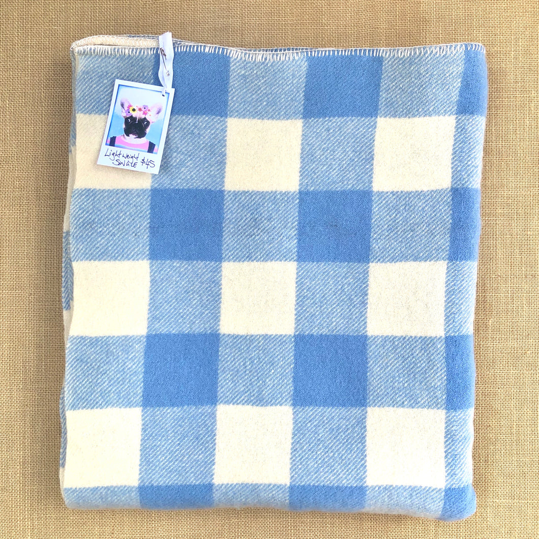 Lightweight SINGLE Wool Blanket in blue and cream check
