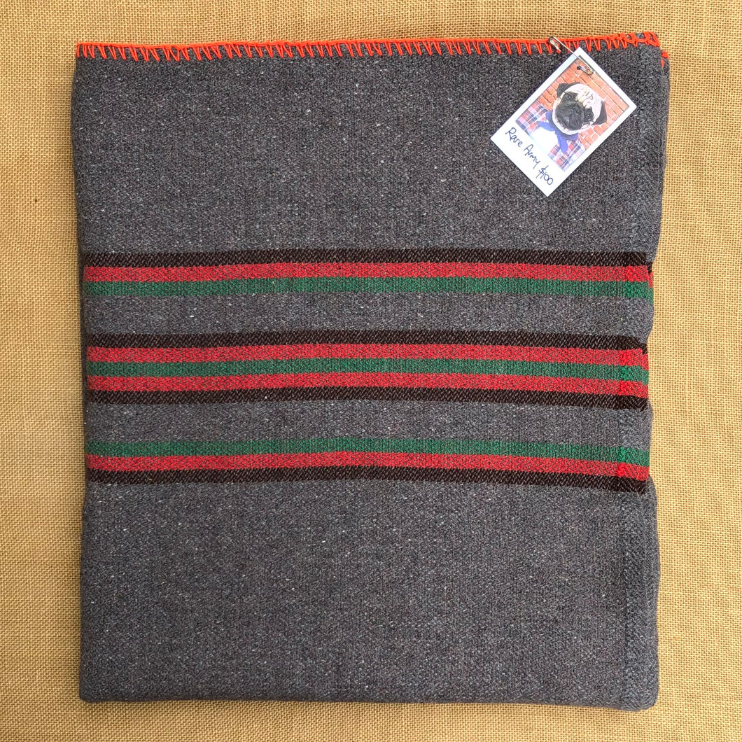Genuine Vintage Grey Army Blanket SINGLE Wool with RARE Red, Green and Black Stripe - Fresh Retro Love NZ Wool Blankets