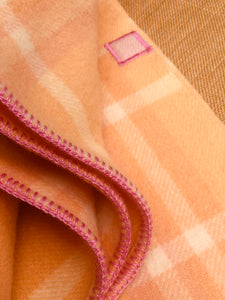 Beautiful Peach and Pink SINGLE Pure Wool Blanket.