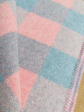 Load image into Gallery viewer, Soft Pastel Apricot Pink and Mint Blue Check DOUBLE Pure Wool Blanket.