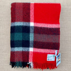 Bold Red & Black Check Onehunga TRAVEL RUG Collectible New Zealand Wool